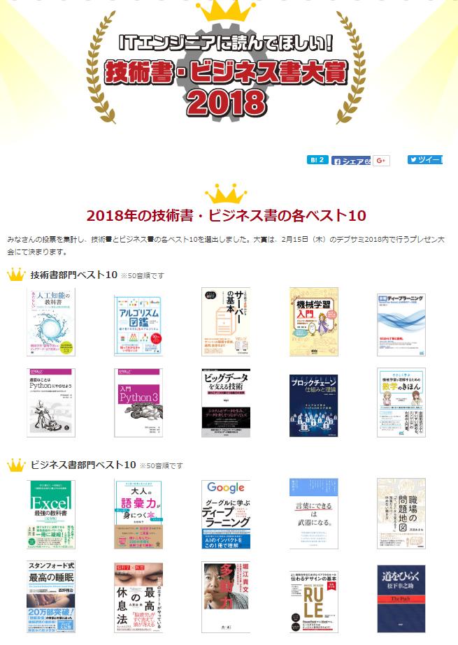 ITエンジニアに読んでほしい!技術書・ビジネス書-大賞2018